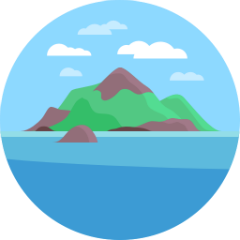 Atlantis logo, a lush island with clear blue skies and well defined clouds